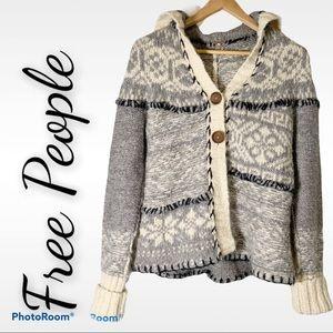 Free People S hooded fair isle sweater cardigan